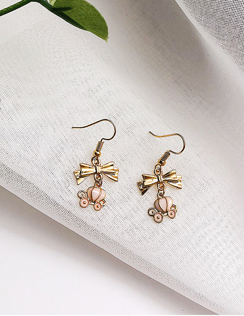 Elegant Gold Color+pink Bowknot Shape Decorated Long Earrings