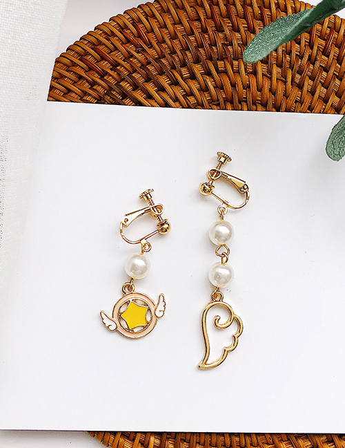 Elegant Gold Color+yellow Wings&pearls Decorated Long Earrings