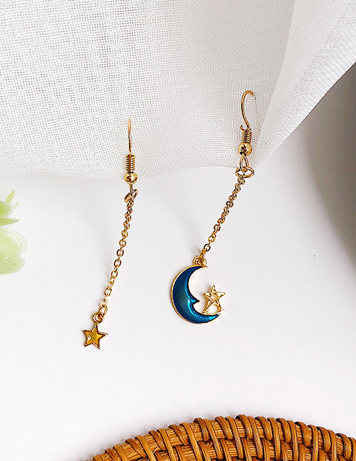 Elegant Dark Blue Moon&star Shape Decorated Asymmetric Earrings