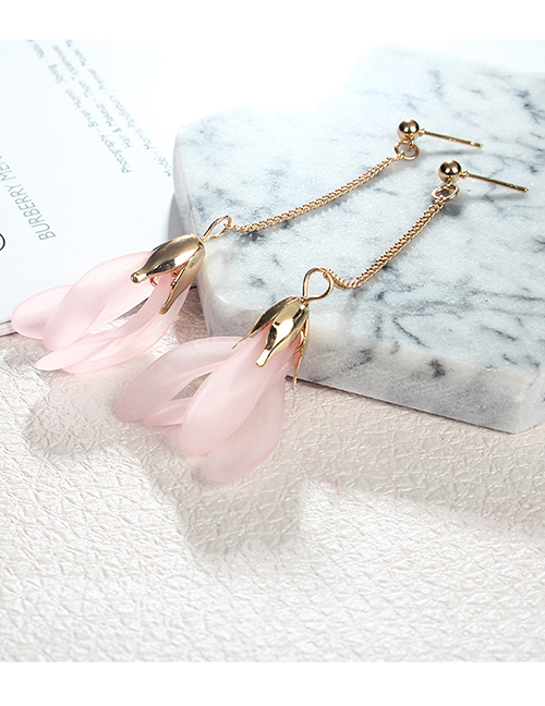 Elegant Pink Petal Pendant Decorated Long Earrings