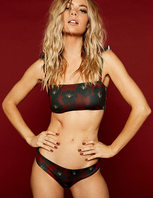 Sexy Red Flowers Pattern Decorated Bikini