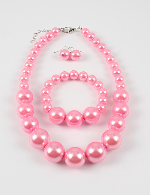 Elegant Pink Full Pearls Design Pure Color Jewelry Sets