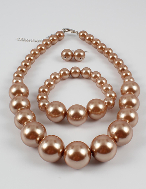 Elegant Coffee Full Pearls Design Pure Color Jewelry Sets
