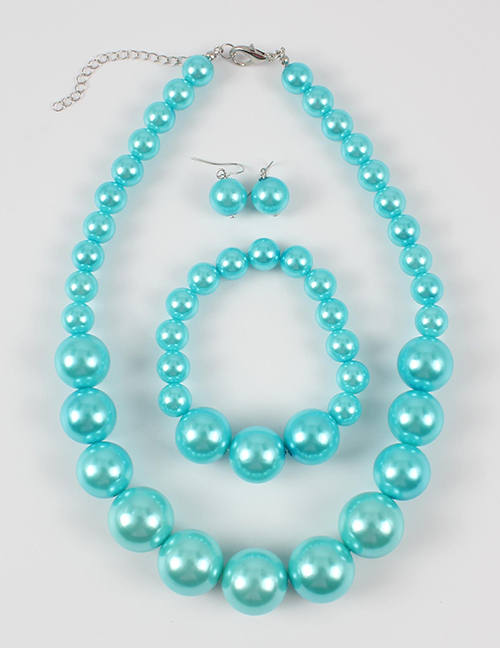 Elegant Pale Blue Full Pearls Design Pure Color Jewelry Sets