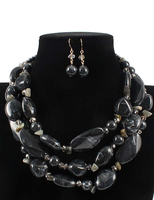 Elegant Black Irregular Shape Design Multi-layer Jewelry Sets