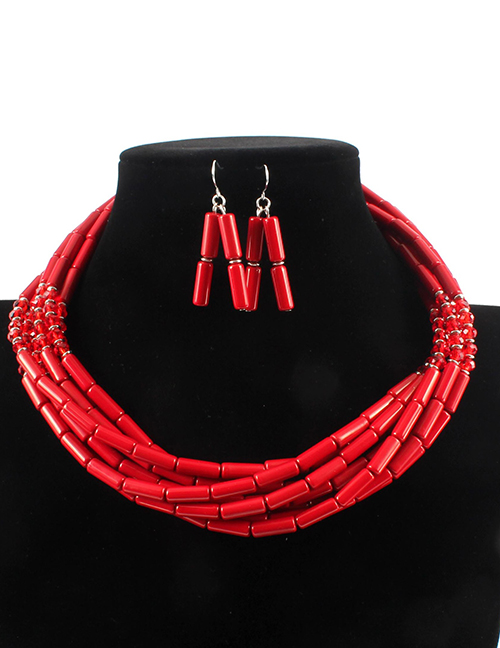 Elegant Red Beads Decorated Pure Color Jewelry Sets
