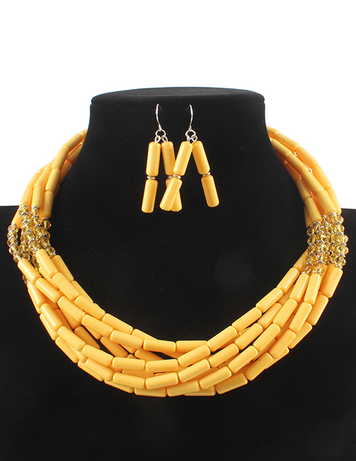 Elegant Yellow Beads Decorated Pure Color Jewelry Sets