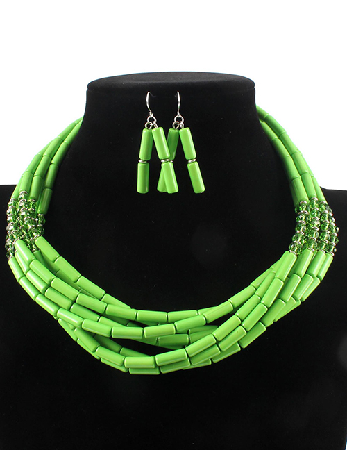 Elegant Green Beads Decorated Pure Color Jewelry Sets