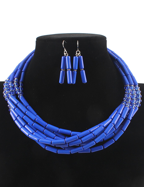 Elegant Blue Beads Decorated Pure Color Jewelry Sets