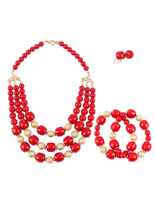 Elegant Red Multi-layer Design Simple Jewelry Sets