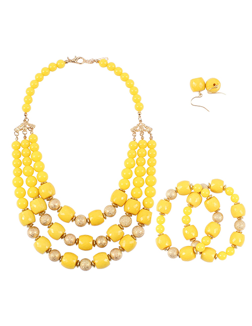 Elegant Yellow Multi-layer Design Simple Jewelry Sets