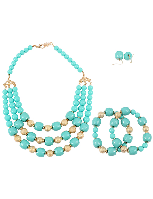 Elegant Green Multi-layer Design Simple Jewelry Sets