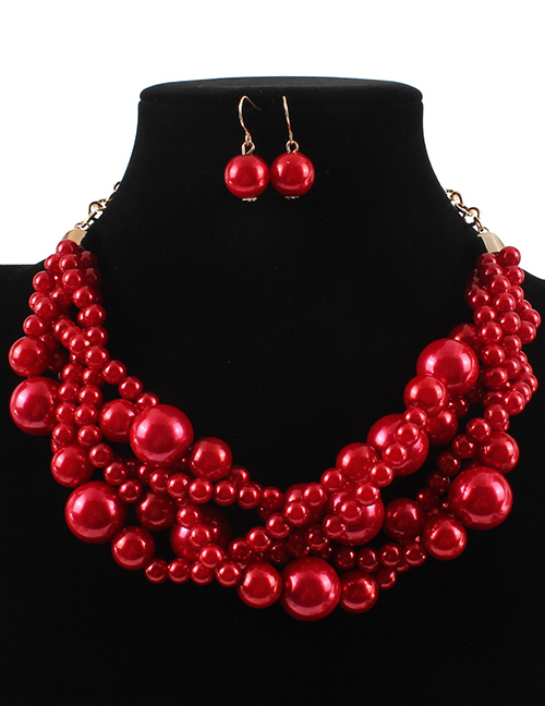 Elegant Red Pearls Decorated Pure Color Jewelry Sets