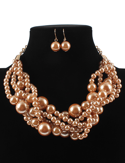 Elegant Coffee Pearls Decorated Pure Color Jewelry Sets