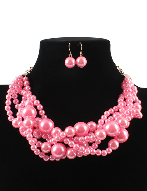 Elegant Pink Pearls Decorated Pure Color Jewelry Sets