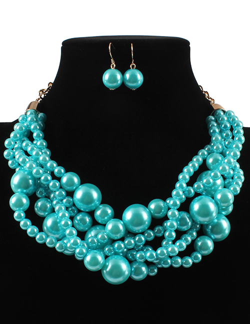 Elegant Pale Blue Pearls Decorated Pure Color Jewelry Sets