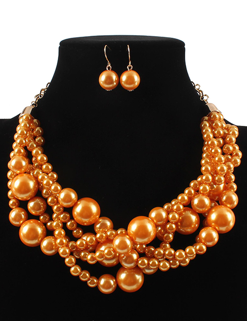 Elegant Orange Pearls Decorated Pure Color Jewelry Sets
