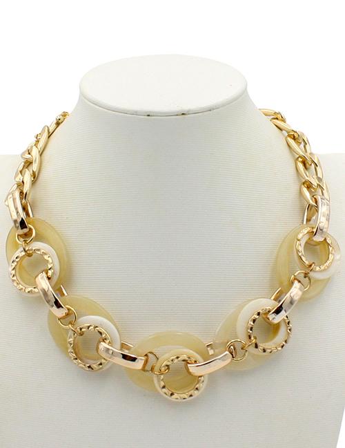 Elegant Beige Round Shape Design Simple Necklace