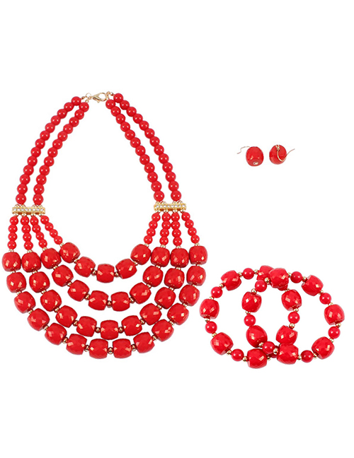 Elegant Red Pure Color Design Multi-layer Jewelry Sets