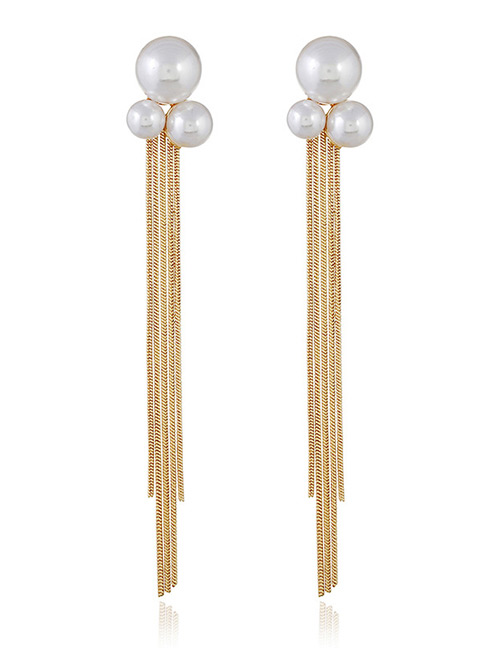 Fashion Gold Color Pearls Decorated Long Tassel Earrings