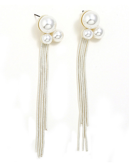 Fashion Silver Color Pearls Decorated Long Tassel Earrings