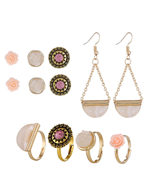 Fashion Multi-color Flowers Shape Design Simple Earrings&rings