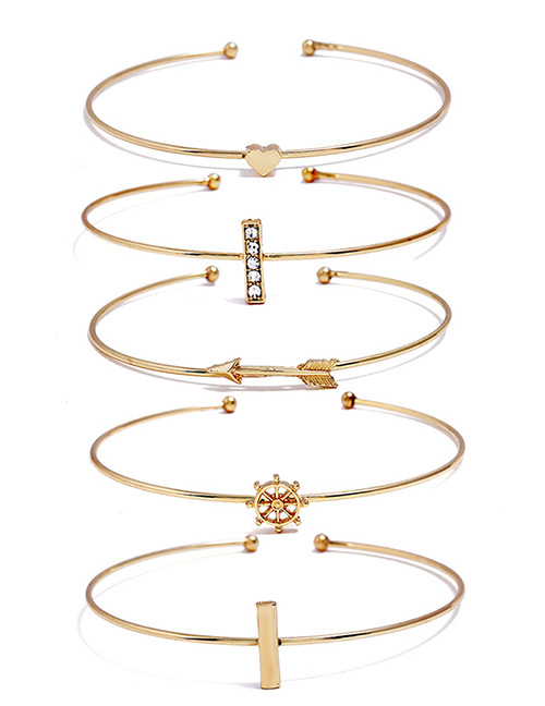 Fashion Gold Color Anchor&arrow Shape Decorated Bracelet(5pcs)