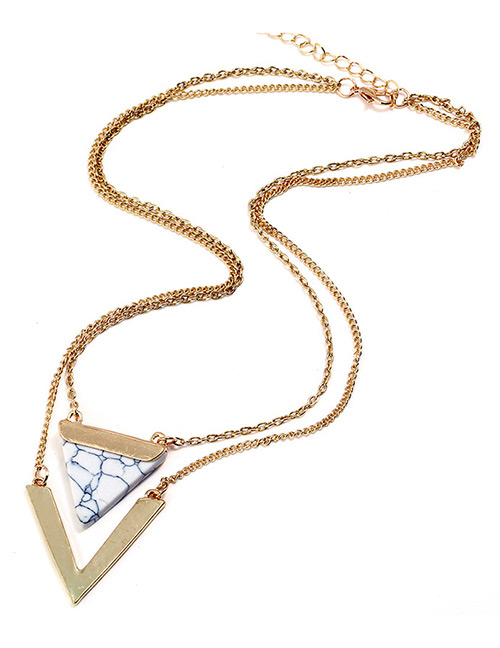 Fashion White Triangle Shape Decorated V Shape Necklace