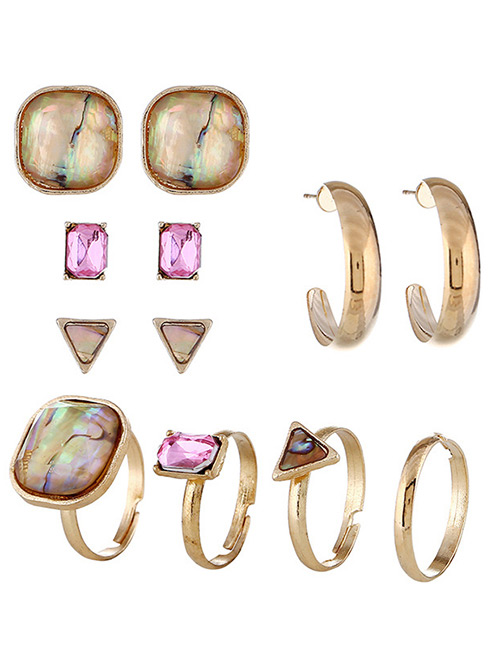 Fashion Gold Color Geometric Shape Gemstone Decorated Ring(12pcs)