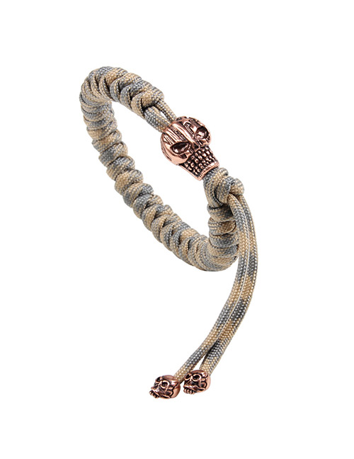 Trendy Khaki Skull Shape Decorated Bracelet