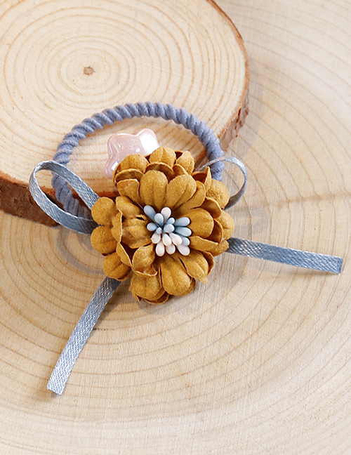Lovely Yellow+blue Flower&bowknot Decorated Child Hair Band(1pc)