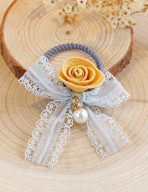 Lovely Light Blue+yellow Flower&bowknot Decorated Child Hair Band(1pc)