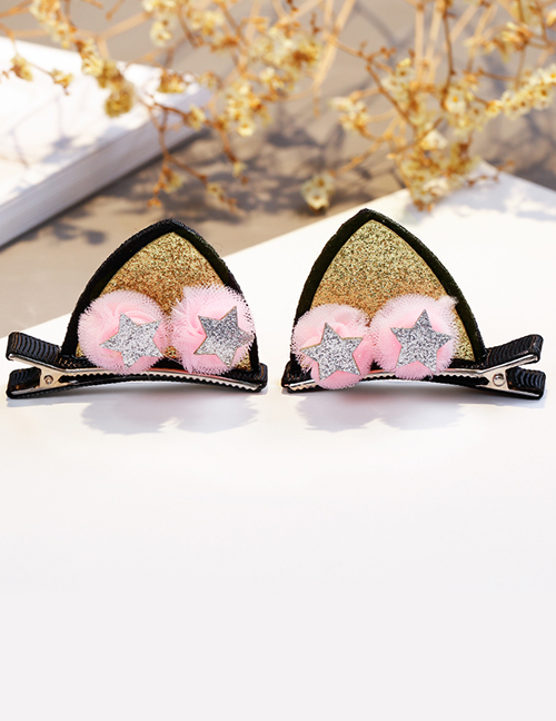 Lovely Gold Color Star&ears Shape Design Child Hair Clip(1pairs)