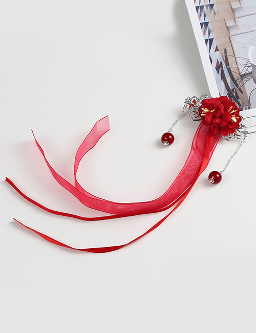 Lovely Red Tassel&flowers Decorated Child Hair Clip