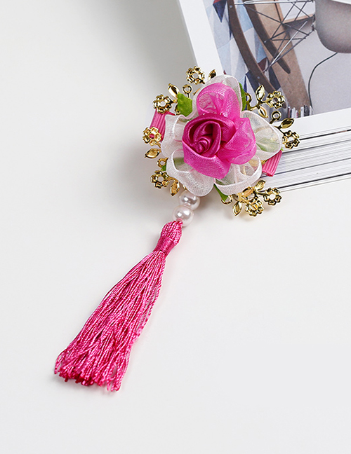 Lovely Plum Red Tassel&flowers Decorated Child Hair Clip