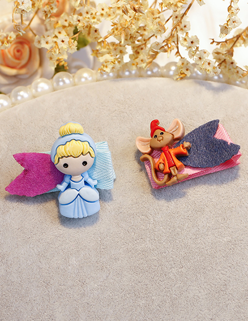 Lovely Blue+brown Princess&mouse Decorated Child Hair Clip(2pcs)