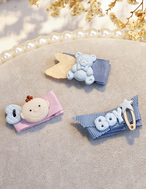 Lovely Blue+pink Bear&baby Shape Design Child Hair Clip(3pcs)