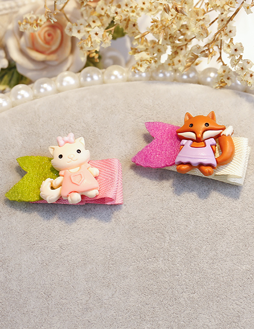 Lovely Green+brown Fox&cat Shape Design Child Hair Clip(2pcs)