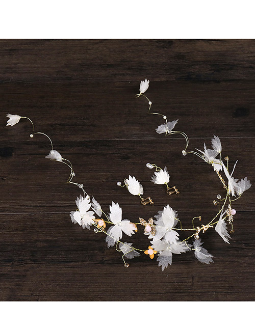 Fashion White Flowers&pearls Decorated Bride Hair Accessories