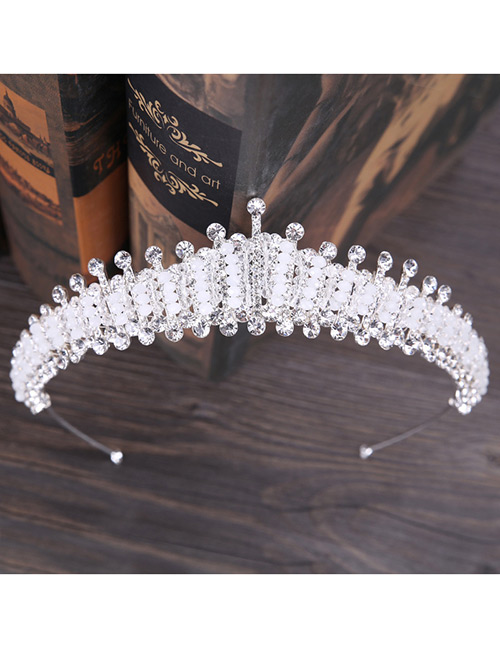 Fashion White Full Diamond Design Crown Shape Hair Accessories