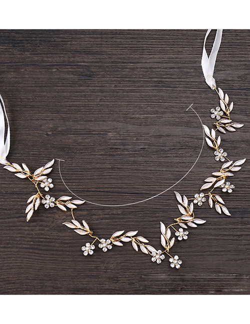 Fashion Champagne Leaf&diamond Decorated Hair Band