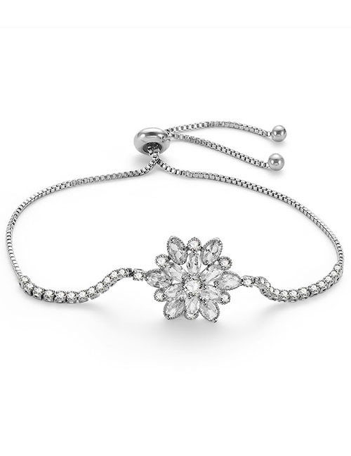 Fashion Silver Color Flowers Shape Decorated Pure Color Bracelet