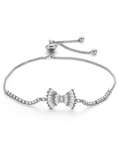 Fashion Silver Color Bwoknot Decorated Pure Color Bracelet