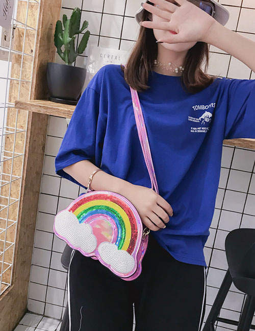Lovely Pink Rainbow Pattern Decorated Shoulder Bag