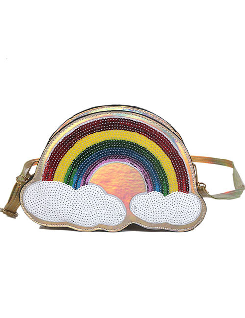 Lovely Gold Color Rainbow Pattern Decorated Shoulder Bag
