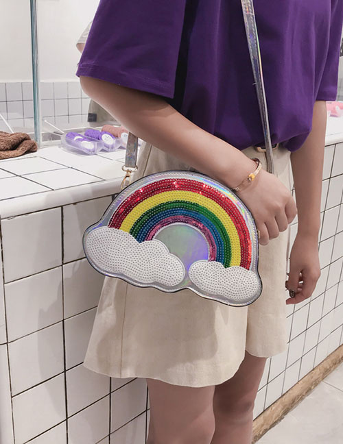Lovely Silver Color Rainbow Pattern Decorated Shoulder Bag