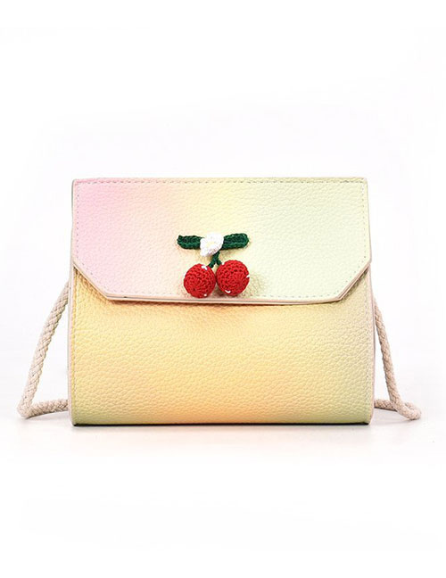 Lovely Yellow Cherry Pattern Decorated Shoulder Bag