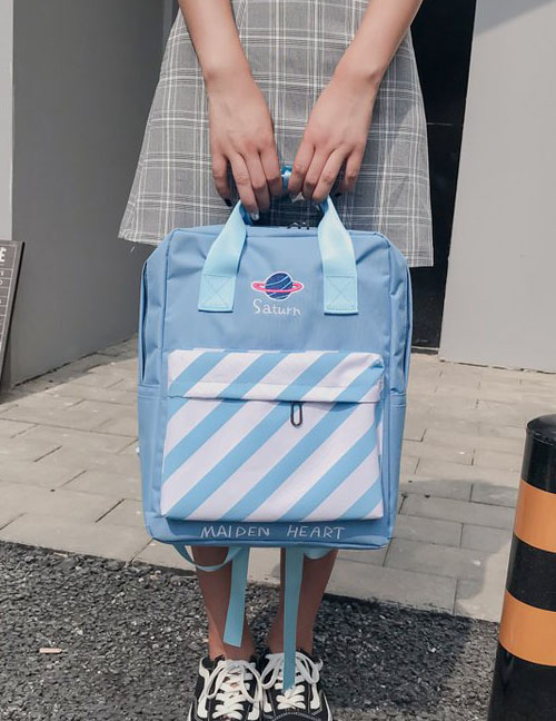 Fashion Blue Stripe Pattern Decorated Backpack