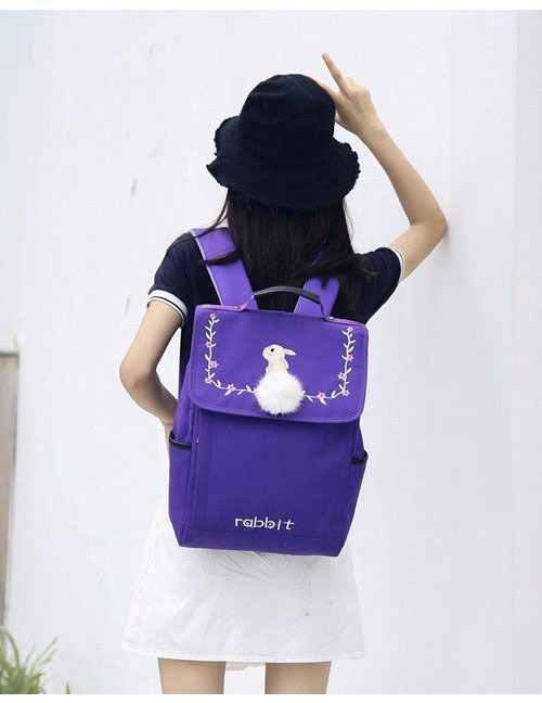Lovely Purple Embroidered Rabbit Decorated Backpack