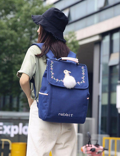 Lovely Blue Embroidered Rabbit Decorated Backpack